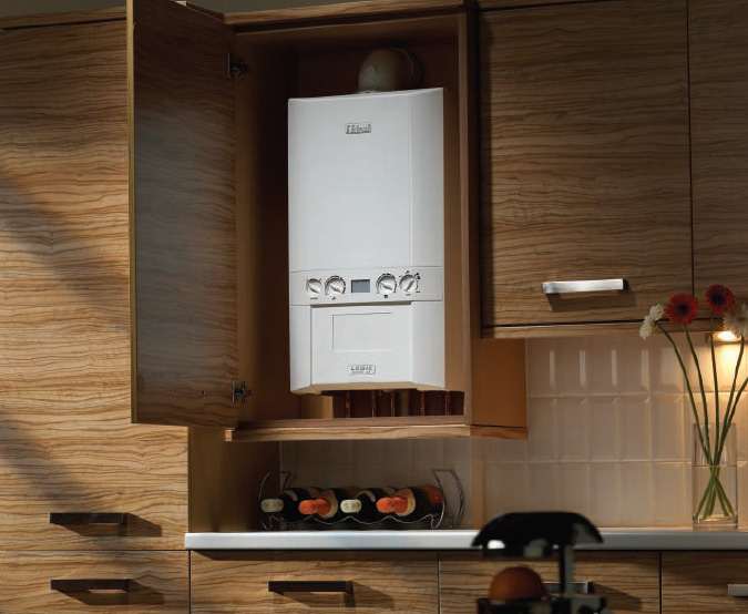 Ideal boiler in kitchen cupboard