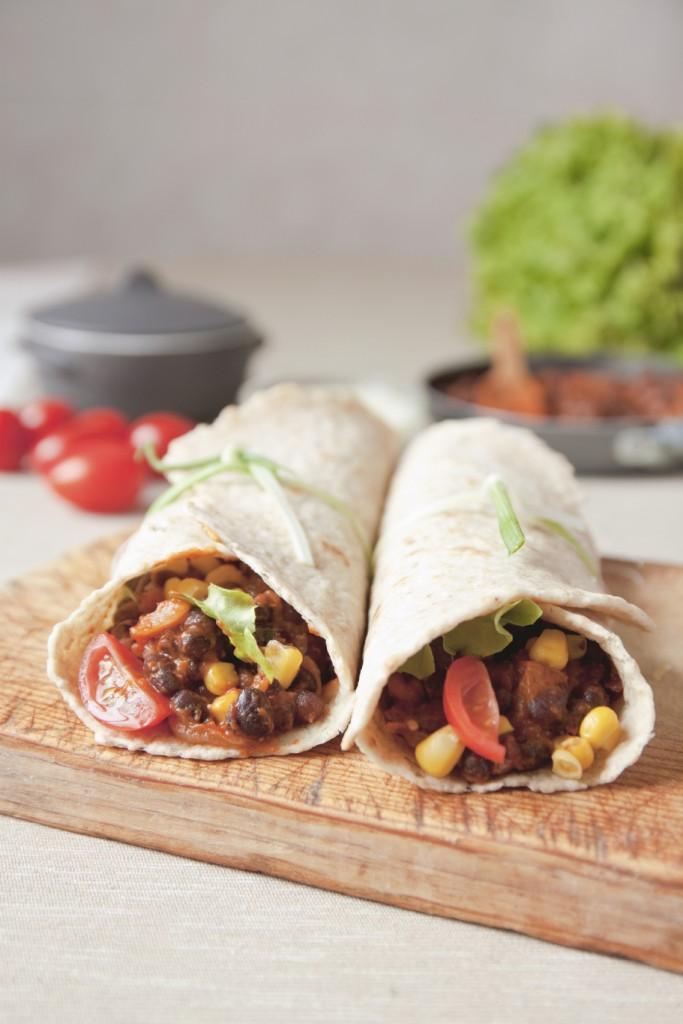 Homemade vegan bean burrito