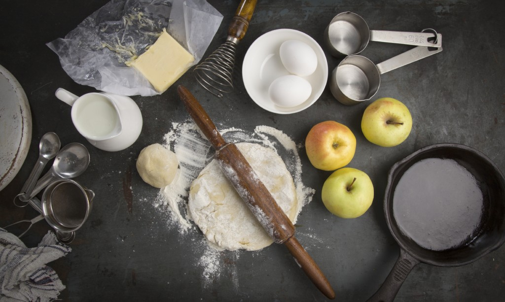 fresh dough with Ingredients for baking apple pie. Long Horizontal for slider